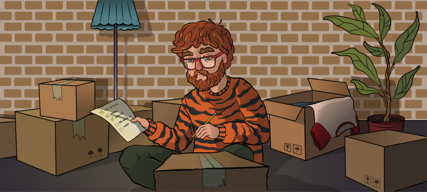 a guy in a tiger sweater sitting in a room full of boxes with a checklist in a hand