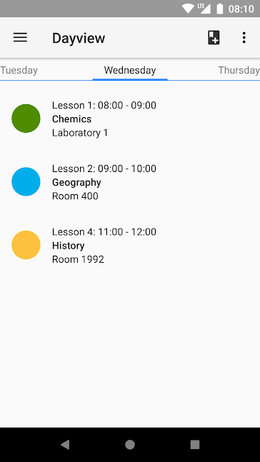 Timetable app screenshot 1