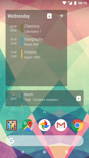 Timetable app screenshot 2