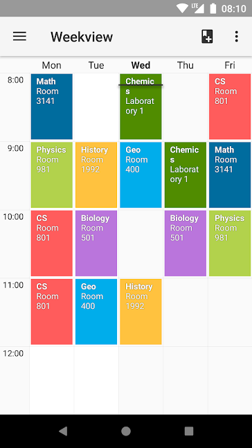 Timetable app screenshot