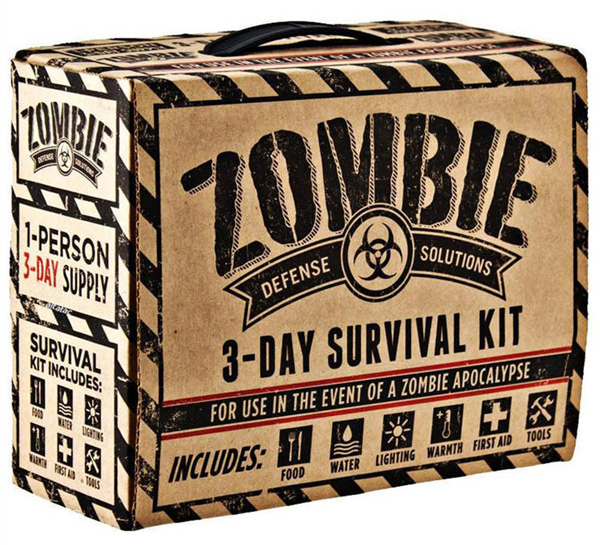 a cardboard survival kit for zombie apocalypse