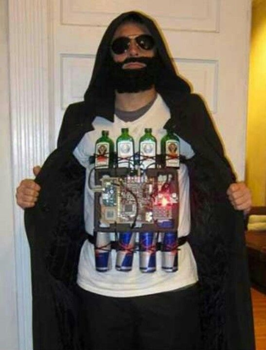 a guy in a Jager bomb costume