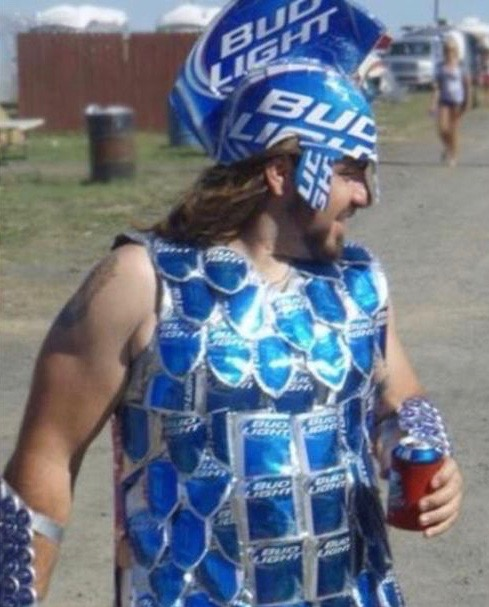 a guy in a Spartan costume
