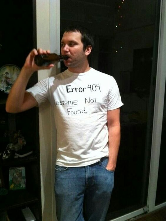 a guy in the error costume