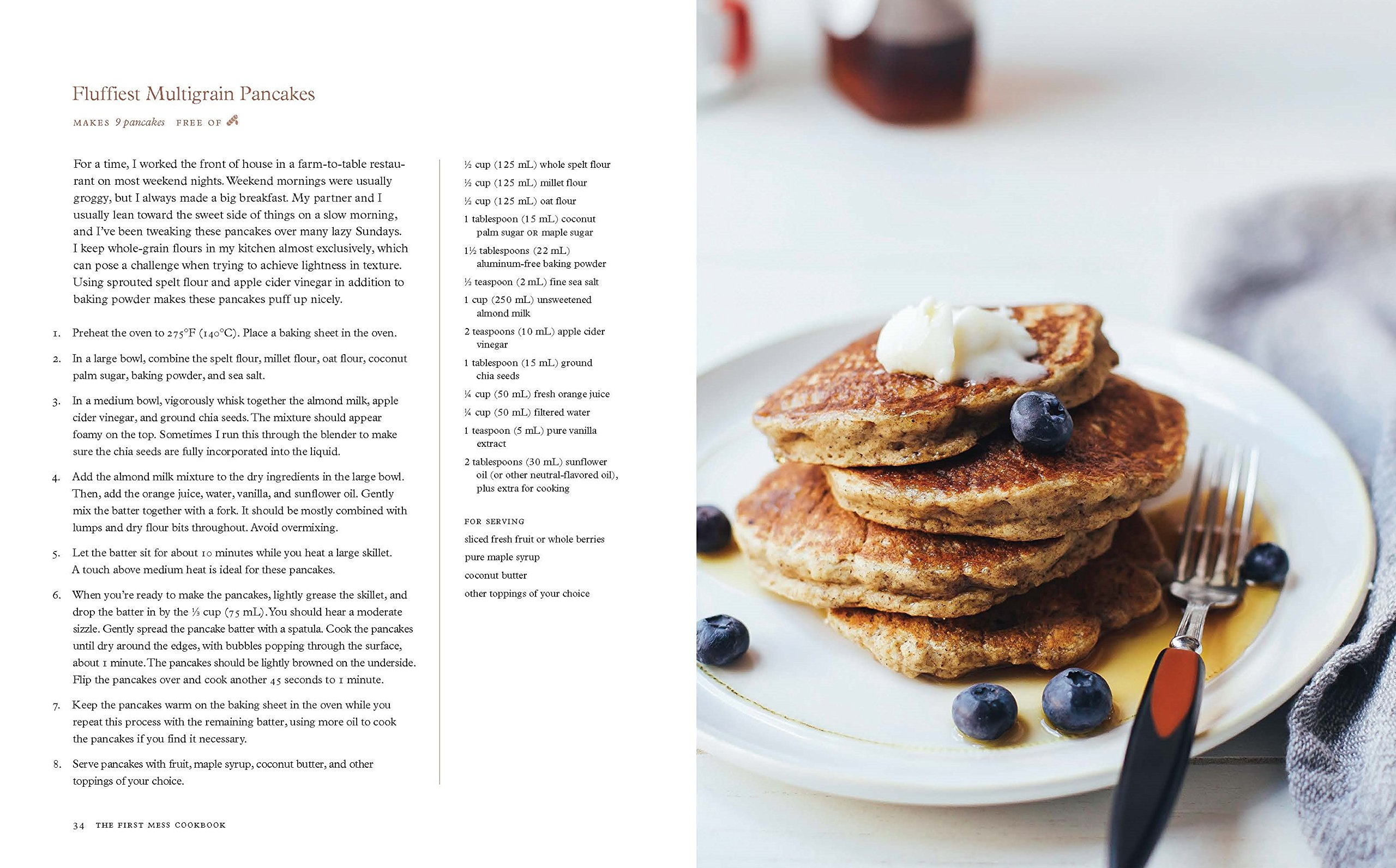 a page from the cookbook with a recipe of pancakes