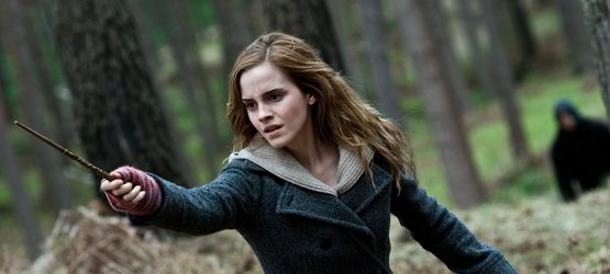 a shot from Harry Potter and the Deathly Hallows part 2 movie with a hermione Granger played by Emma Watson