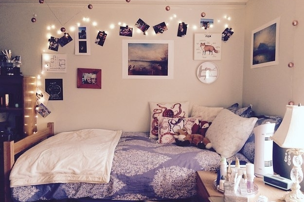 a student dorm room with lights
