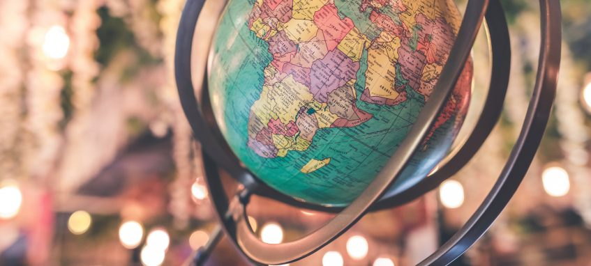 a vintage multicolored globe