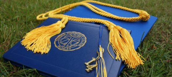 academic cap and diploma placed on green grass