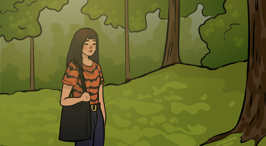 a girl in a tiger shirt is walkig in a park