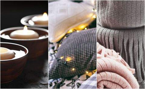 candels, pillows with lights, and knitted blankets