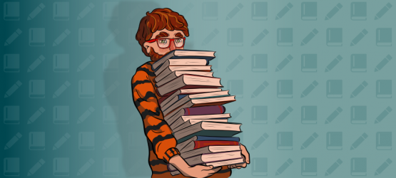 a guy in a tiger sweater is holding a pile of books
