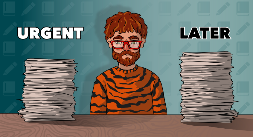 a guy in a tiger sweater is sitting between two piles of assignments