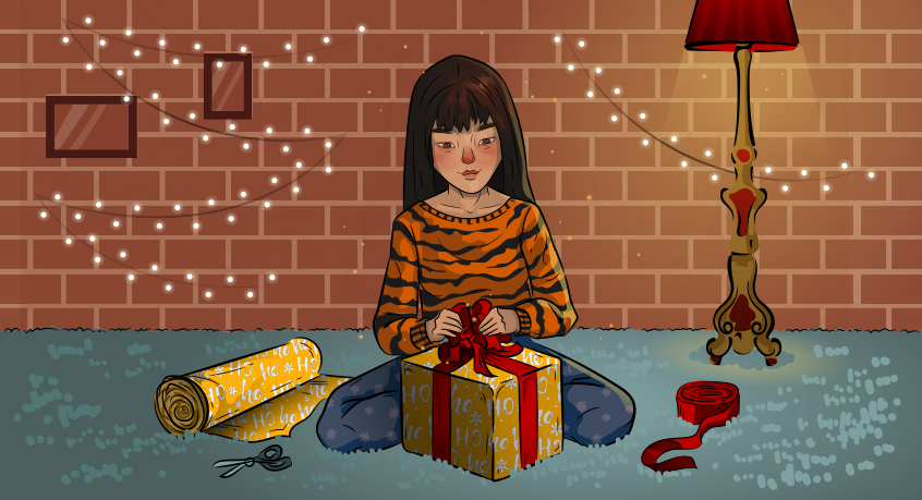 a girl in a tiger sweater is preparing the gifts