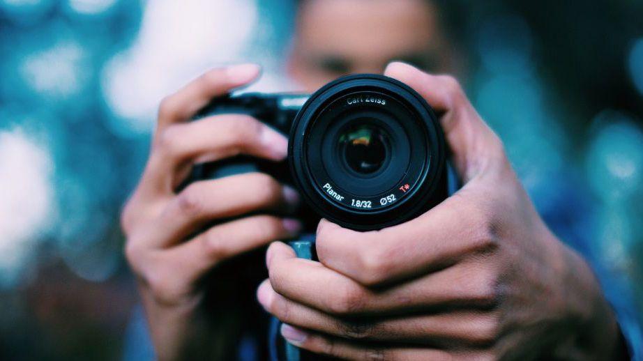 close up view of camera lens