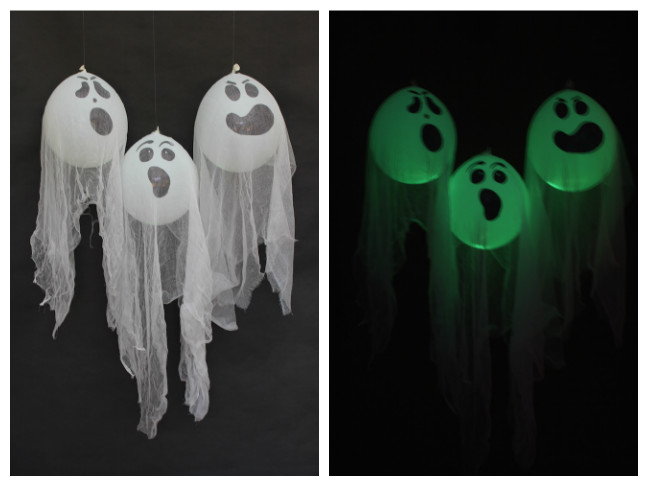 ghosts made of white baloons