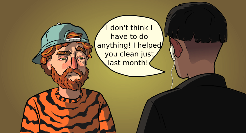 a guy in a tiger sweater talking to his roommate