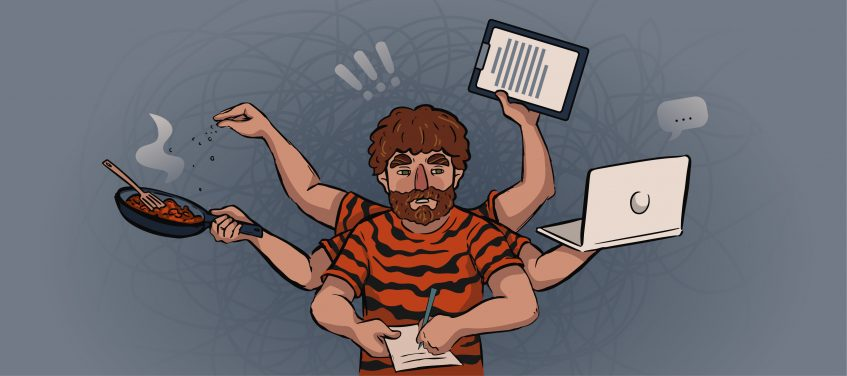 a guy in a tiger shirt holds a laptop, a pan and papers in his hands