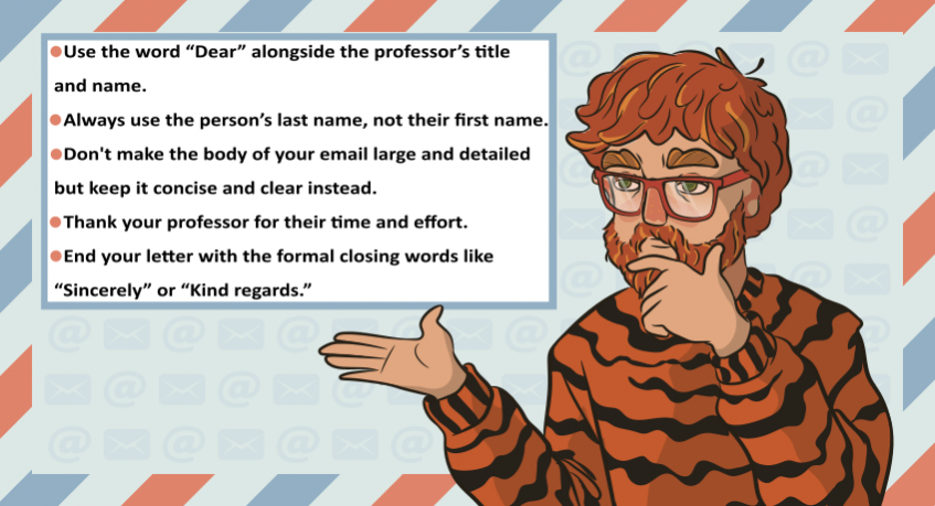 the guy in a tiger sweater points to the main rules of writing an email to a professor