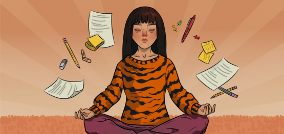 a girl in tiger sweater is sitting in lotus position