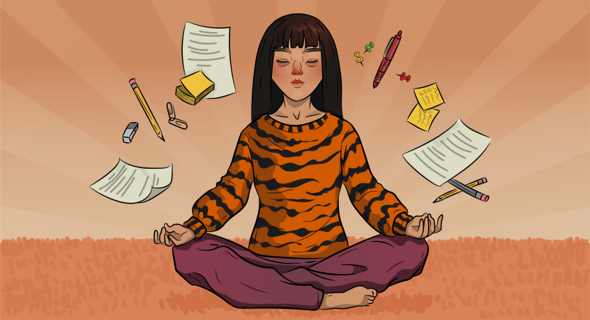 a girl in a tiger sweater is meditating