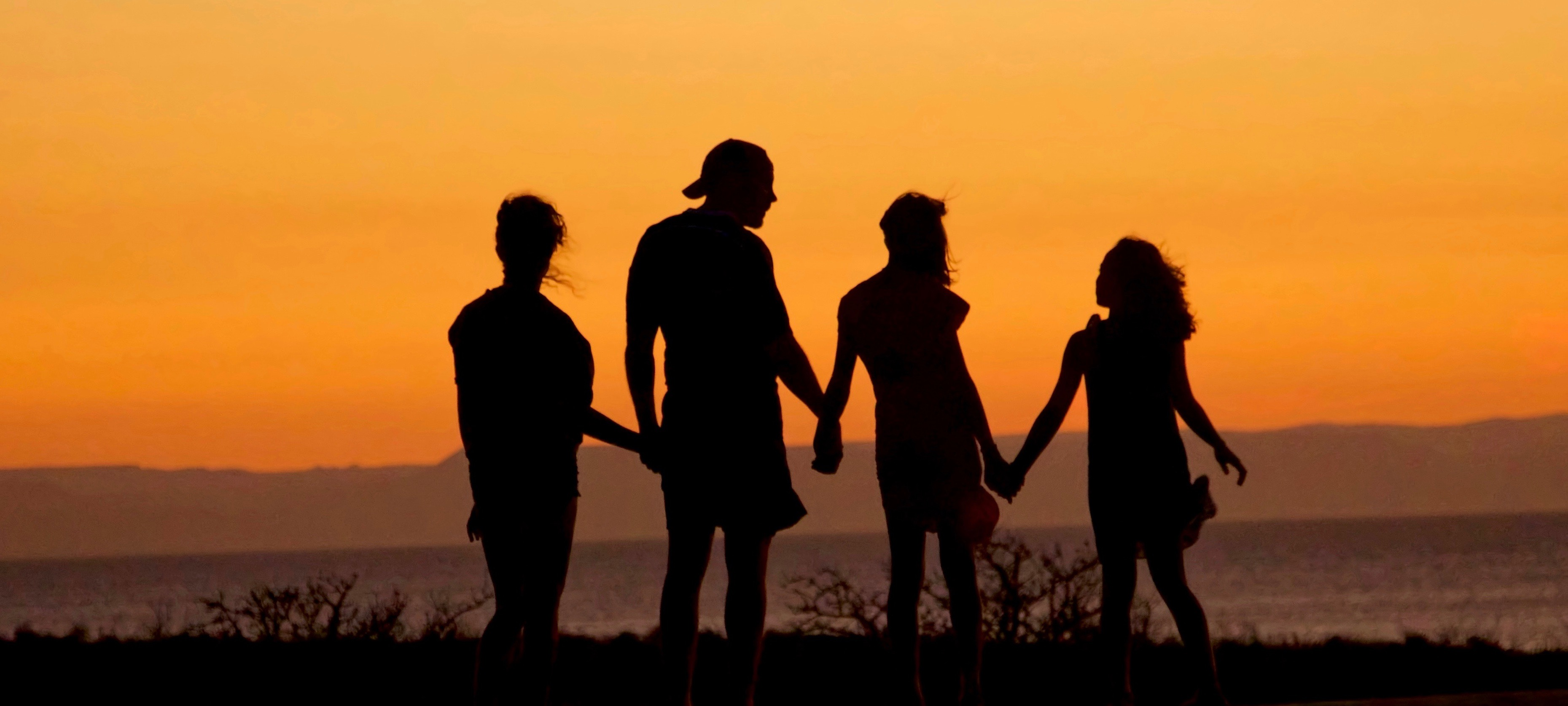 family members hold each other's hands looking at the sea