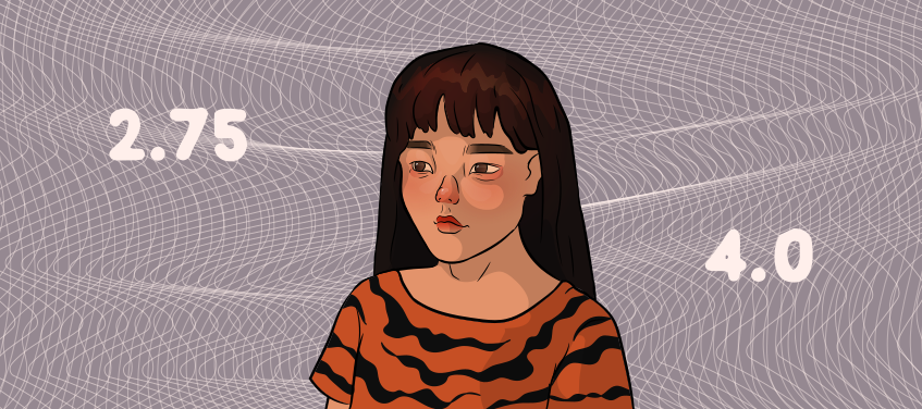 a girl in a tiger shirt is thinking about raising her gpa