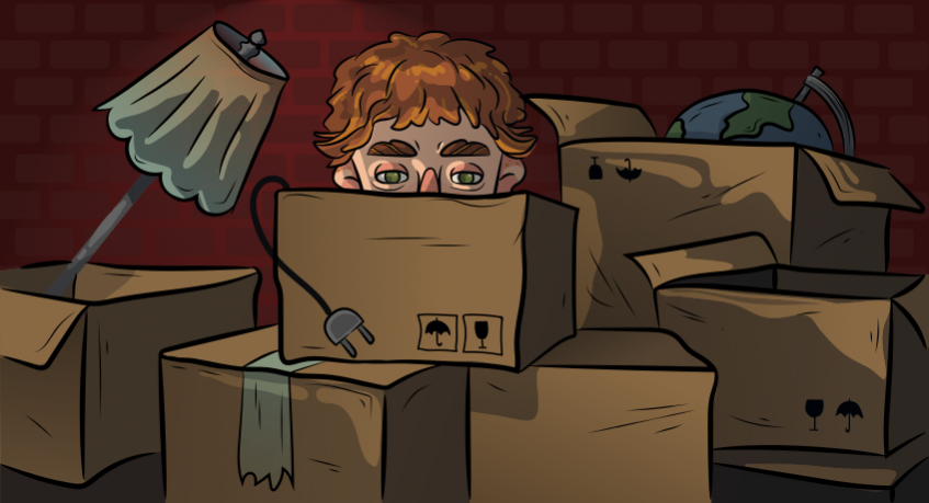 a guy is sitting among boxes