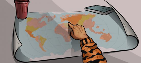 a girl in a tiger sweater is pointing at the world map