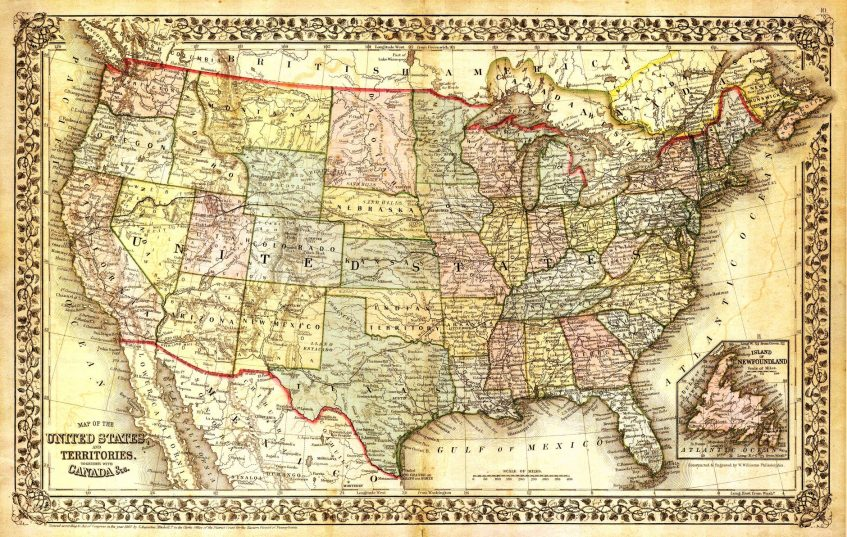 an old map of united states