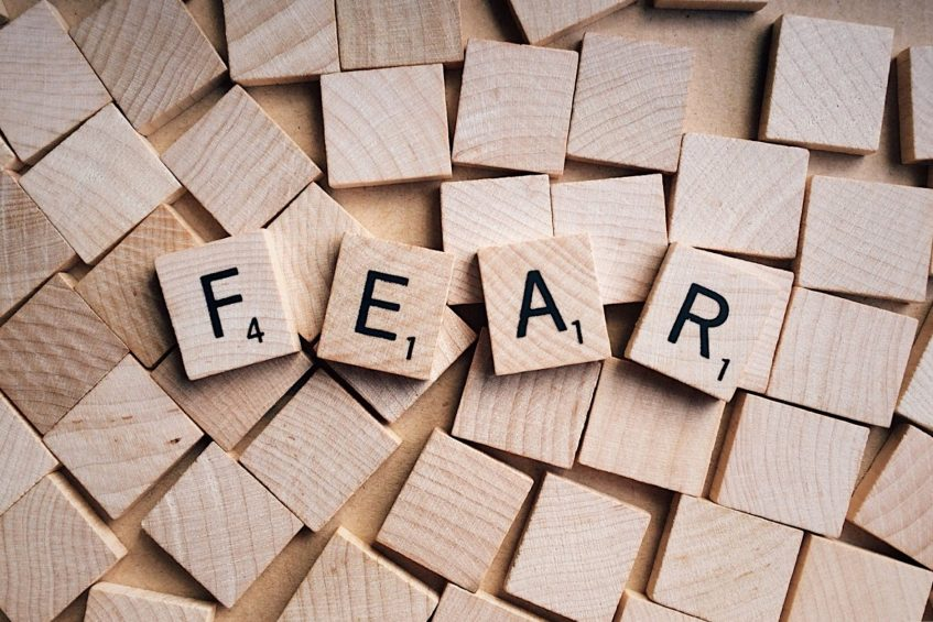 word fear created from little wooden bricks