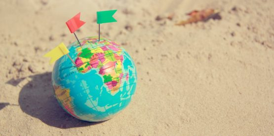 a globe with pins on it