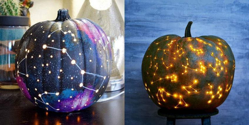 pumpkins decorated with constellations and galaxy patterns