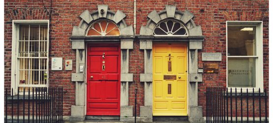 red and yellow entrance doors