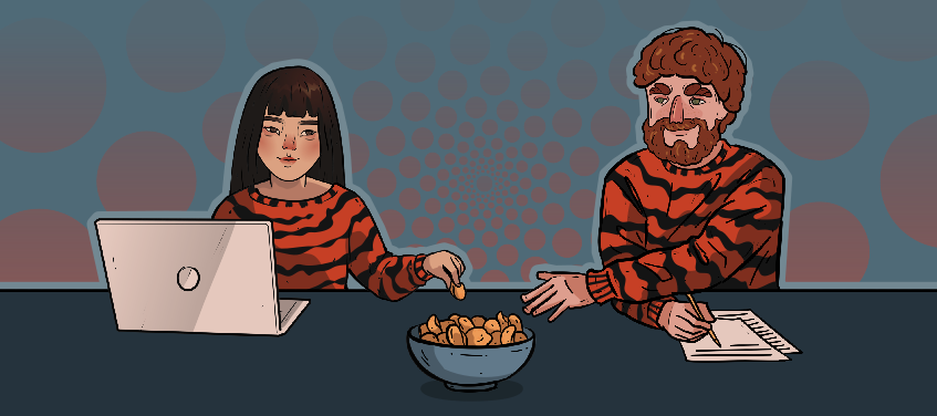 a girl and a guy in tiger shirts enjoy a bowl of chips