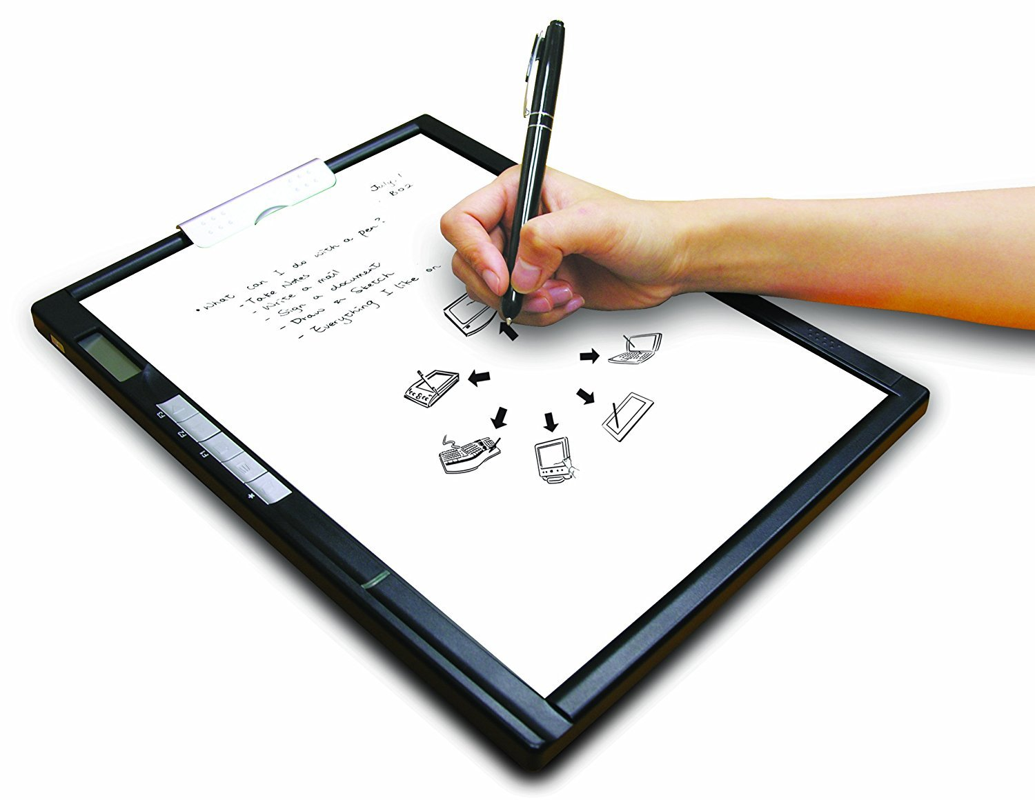 someone holds a pen above a digital notepad