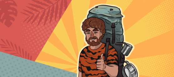a guy in a tiger shirt is standing smiling with a backpack