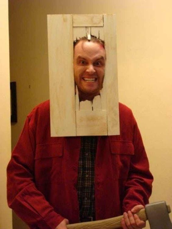 the guy dressed as a character from Shining