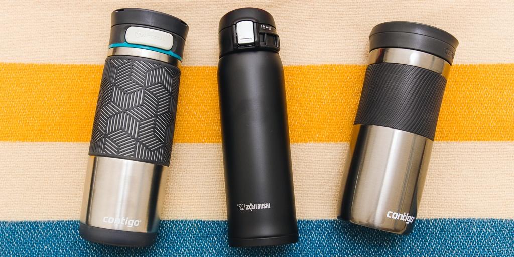 three travel thermal mugs