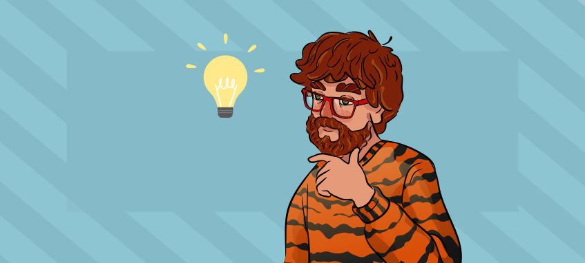 a guy in a tiger shirt has an idea