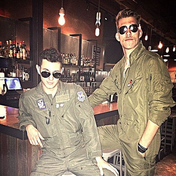 two guys in top gun costumes