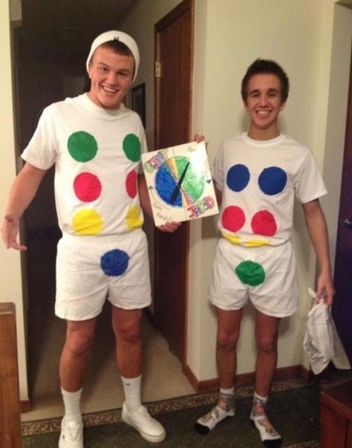 two guys in twister board costumes